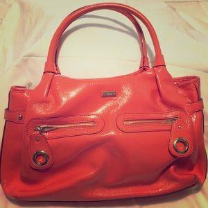 Kate Spade coral patent leather shoulder bag